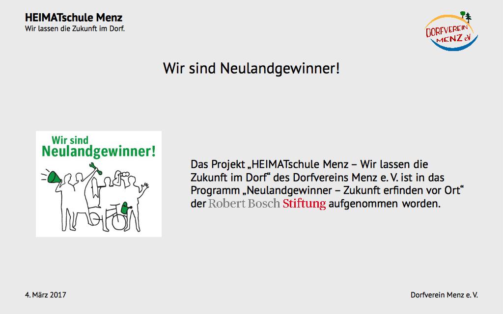 HEIMATschule Menz - Präsentation Folie 1